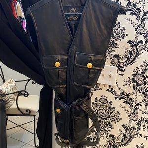 Vintage black leather vest with tie detail